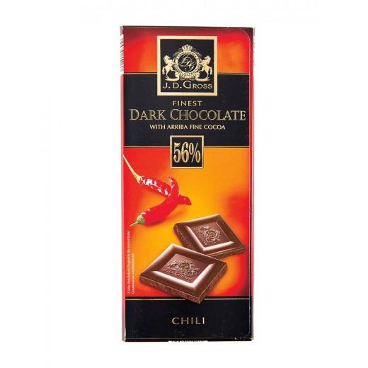 "56% Ecuador cocoa beans dark chocolate with chilli ""J.D.Gross"", 125 g"