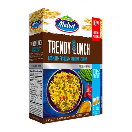 """Basmati rice, green beans, red pepper, curry """"Melvit"""" Trendy Lunch, 4x80 g"""