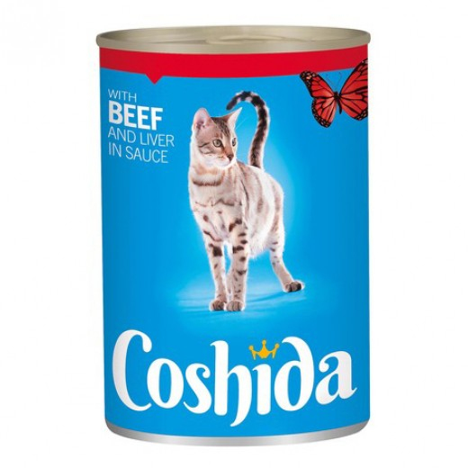 "Wet cat food with beef & liver in sauce ""Coshida"", 415 g"