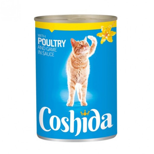 """Wet cat food with poultry & game in sauce """"Coshida"""", 415 g"""