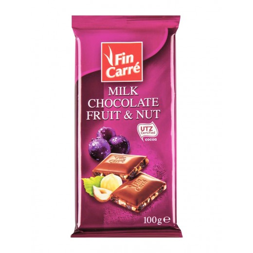 """Milk chocolate """"Fin Carre"""" with fruit & nut, 100 g"""