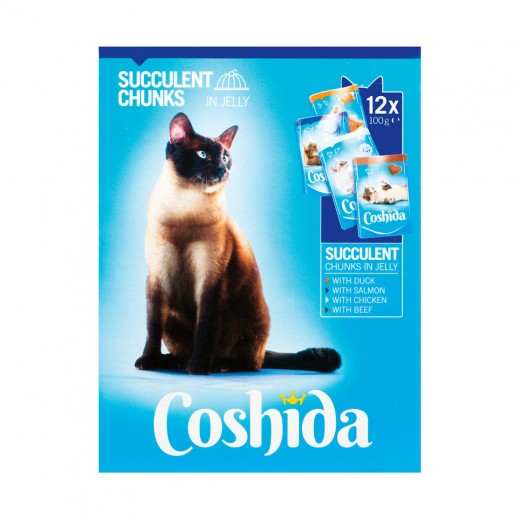 """Succulent chunks in jelly for cats """"Coshida"""", 12 pcs"""