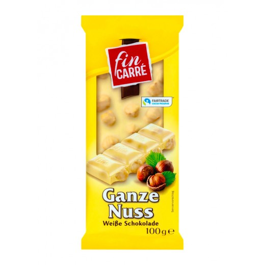 """White chocolate """"Fin Carre"""" with whole hazelnuts, 100 g"""