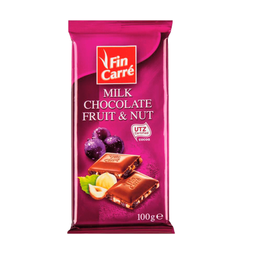 "Milk chocolate ""Fin Carre"" with nuts & raisins, 100 g"