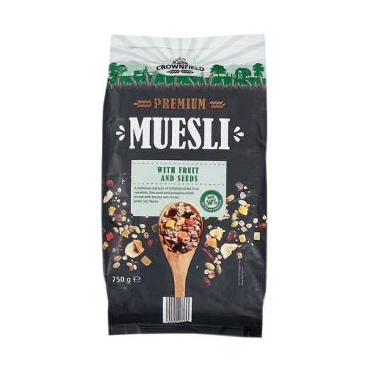 "Premium muesli ""Crownfield"" with fruits, linseeds and pumpkin seeds, 750 g"