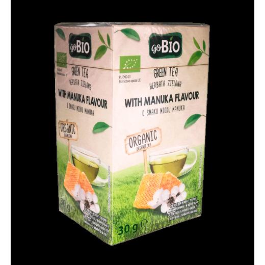 "BIO Organic green tea with manuka honey flavour ""goBIO"", 20 pcs"
