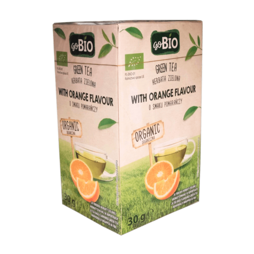 "BIO Organic green tea with orange flavour ""goBIO"", 20 pcs"