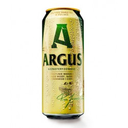 "Unpasteurized pilsener gold beer 6% ""Argus"", canned, 500 ml"