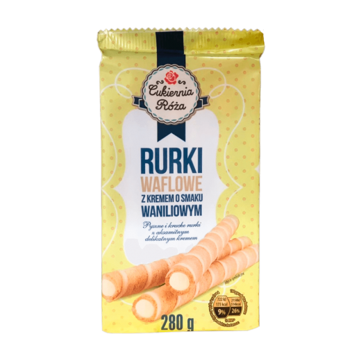 "Wafer rolls with vanilla cream ""Cukernia Roza"", 280 g"