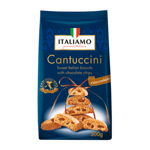 "Sweet Italian biscuits with chocolate chips ""Italiamo"" Cantuccini, 300 g"