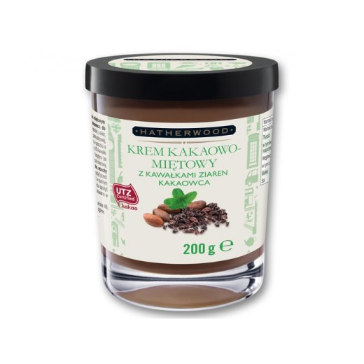"Cocoa mint spread with pieces of cocoa beans ""Hatherwood"", 200 g"