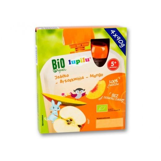 "BIO Organic fruit mousse ""Lupilu"" apple, mango, peach, 4x90 g"