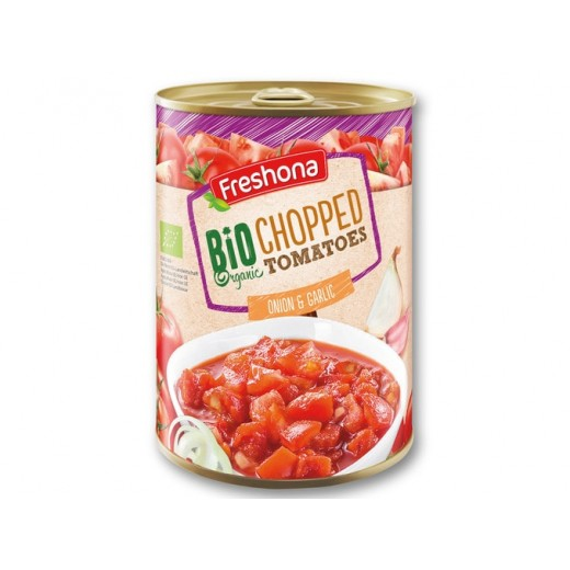 "BIO Organic chopped tomatoes with onion & garlic ""Freshona"", 400 g"