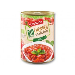"BIO Organic chopped tomatoes with basil ""Freshona"", 400 g"