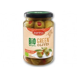 "BIO Organic green olives with natural pepper ""Baresa"", 370 ml"