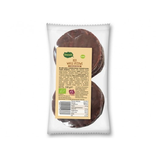 "BIO Organic rice wafers with milk chocolate ""Vemondo"", 100 g"