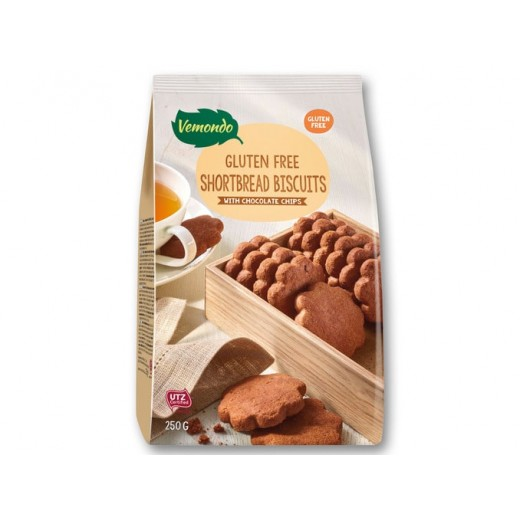"Gluten free shortbread biscuits with chocolate chips ""Vemondo"", 250 g"