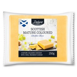 "Scottish mature coloured cheddar cheese ""Deluxe"", 250 g"
