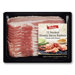 "Smoked streaky bacon, rashers cured with honey ""Dulano"", 240 g"