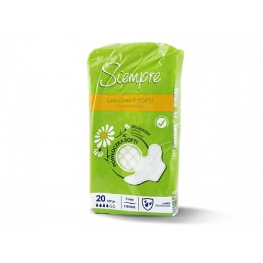 """Chamomile soft pads with wings, 4 drops """"Siempre"""", 20 pcs."""