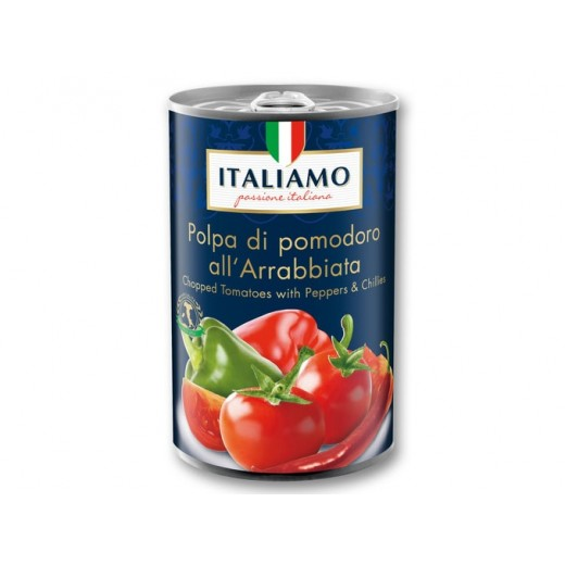 "Chopped tomatoes with Peppers & Chilli ""Italiamo"", 425 ml"