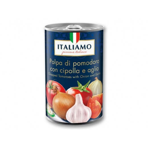 "Chopped tomatoes with Onion & Garlic ""Italiamo"", 425 ml"
